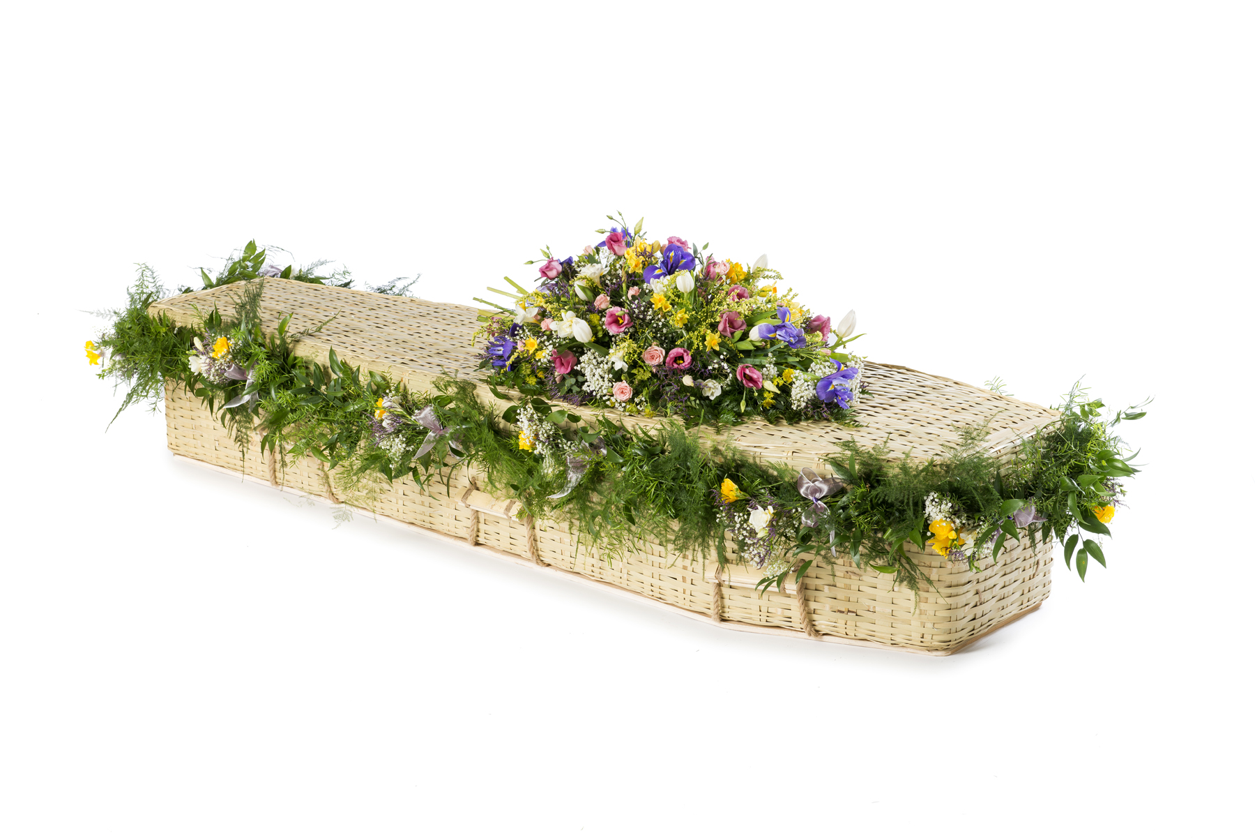 Traditional Bamboo Casket with garland